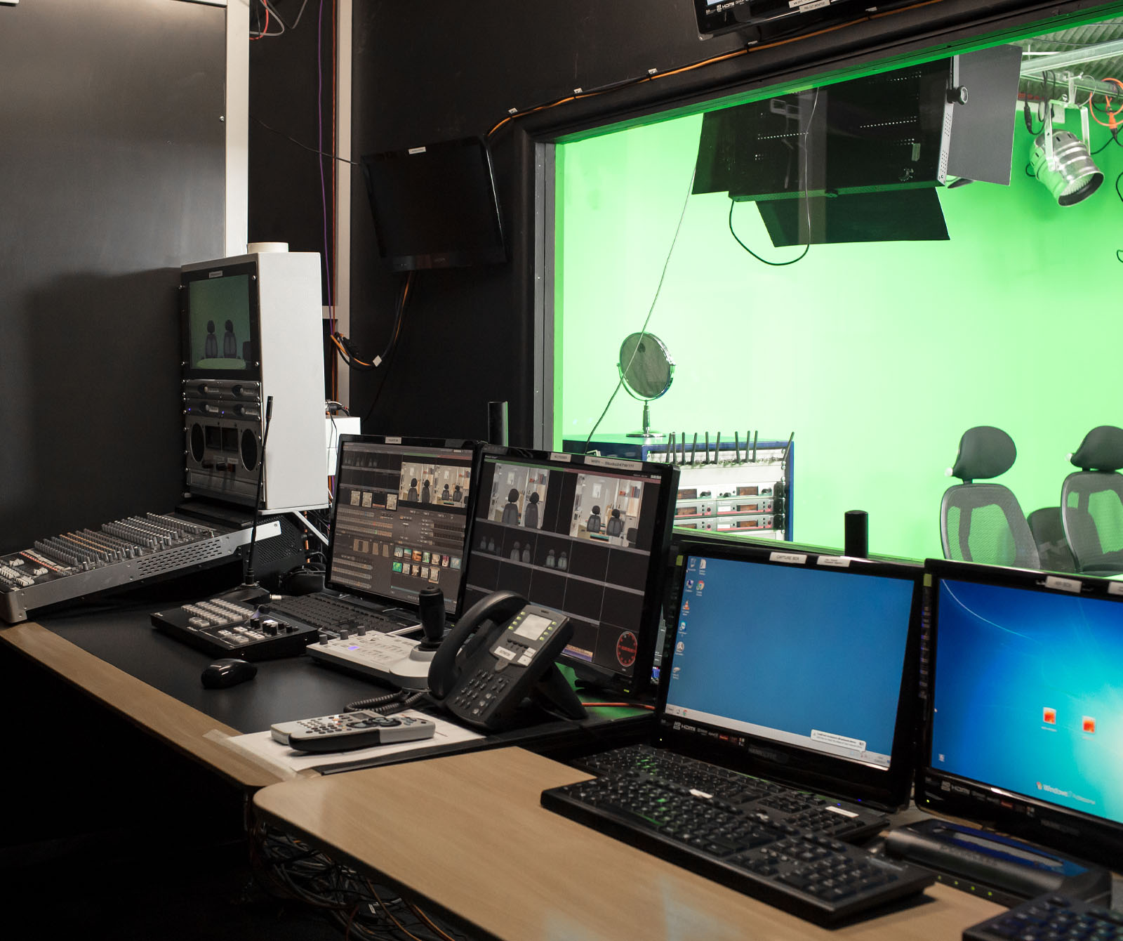 A Chroma Key Studio is ideal for creating and customising virtual sets for your productions. Keying can either be performed live through the Vision Mixer or handled later in post.